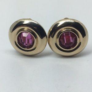 Vintage Pink Swarovski Crystal Clip On Earrings